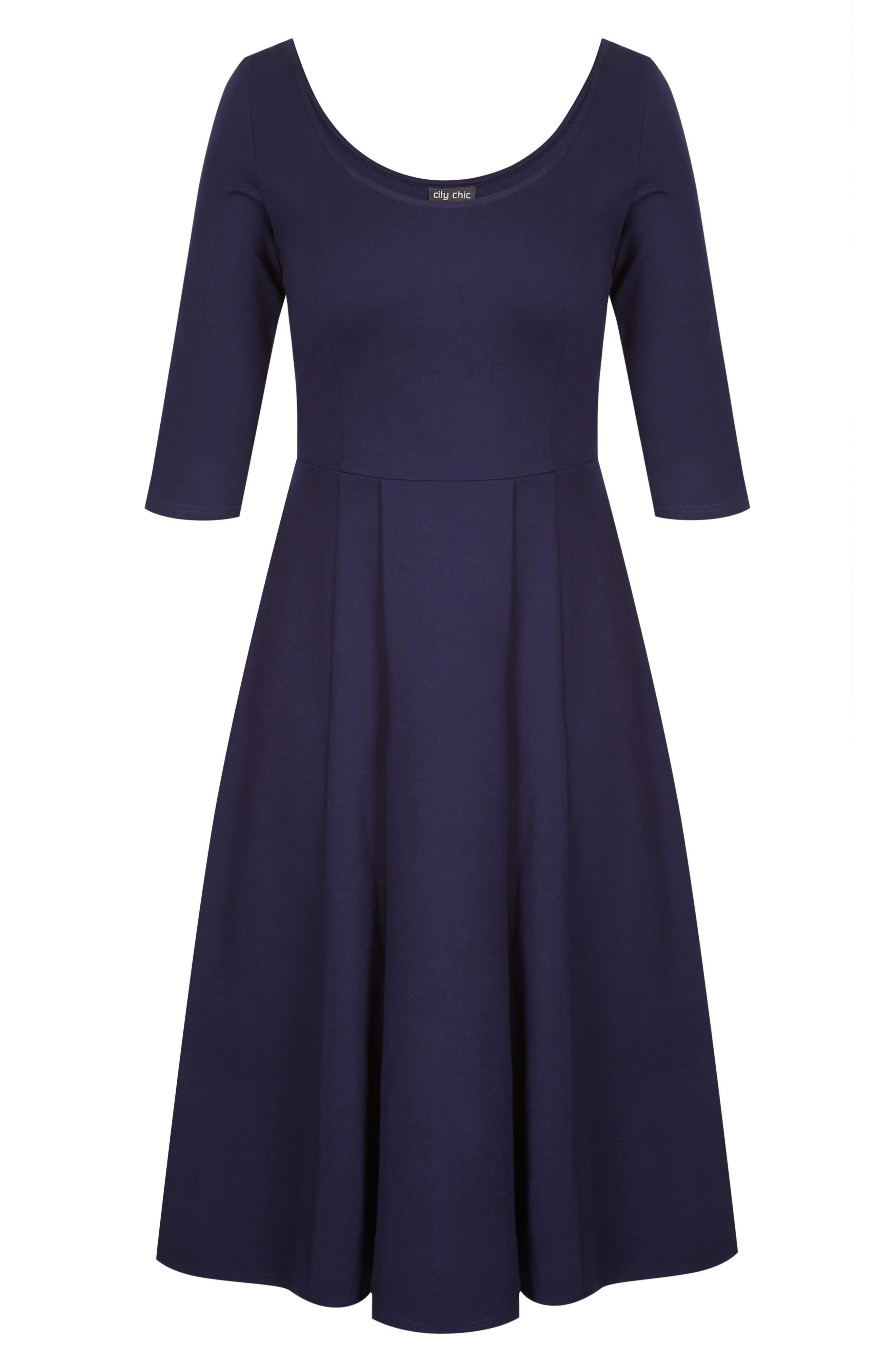 ,                             Scoop Neck A-Line Dress,                             Alternate thumbnail 3, color,                             NAVY
