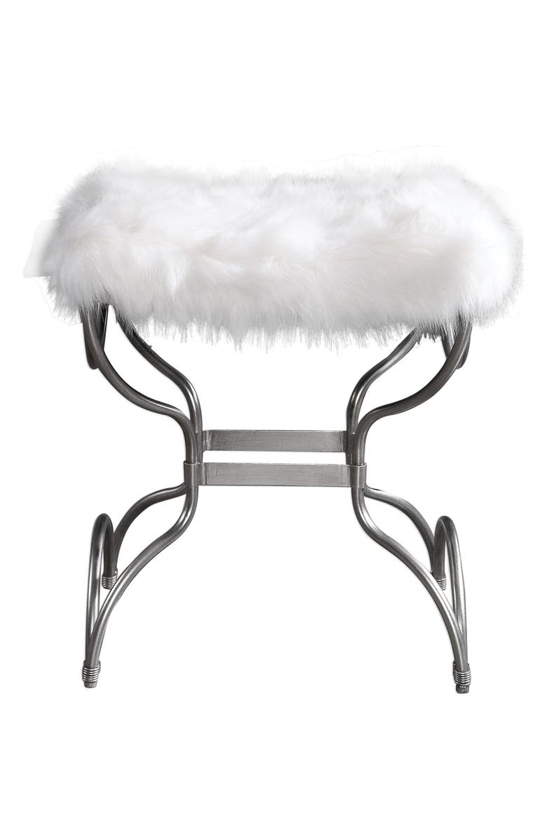 UTTERMOST Channon Faux Fur Bench, Main, color, SILVER/ WHITE