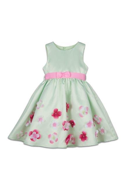 Image of Joe-Ella Layla Flower Embellished Mint Satin Dress