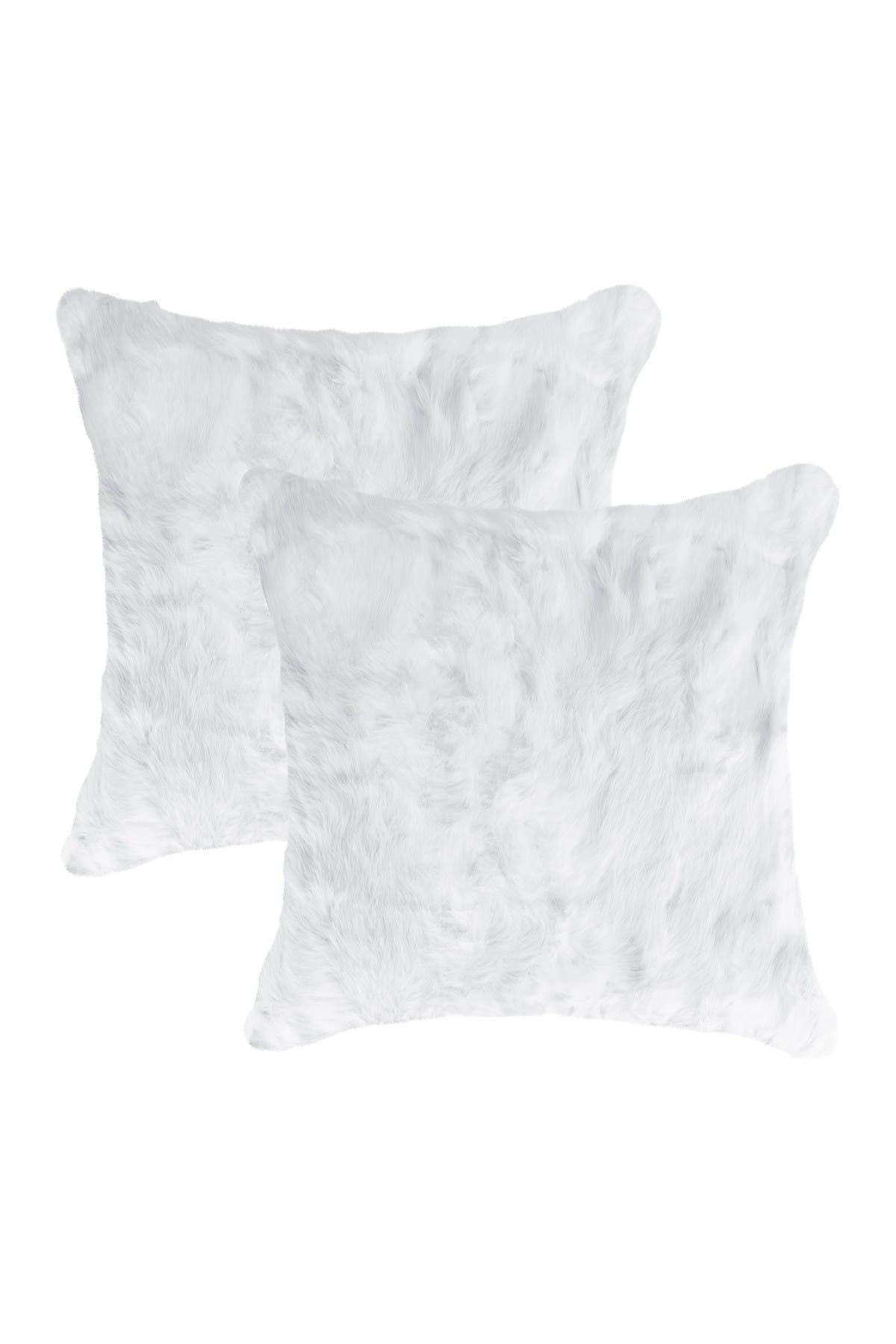 "Image of Natural Genuine Rabbit Fur Pillow - Set of 2 - 18"" x 18"" - White"