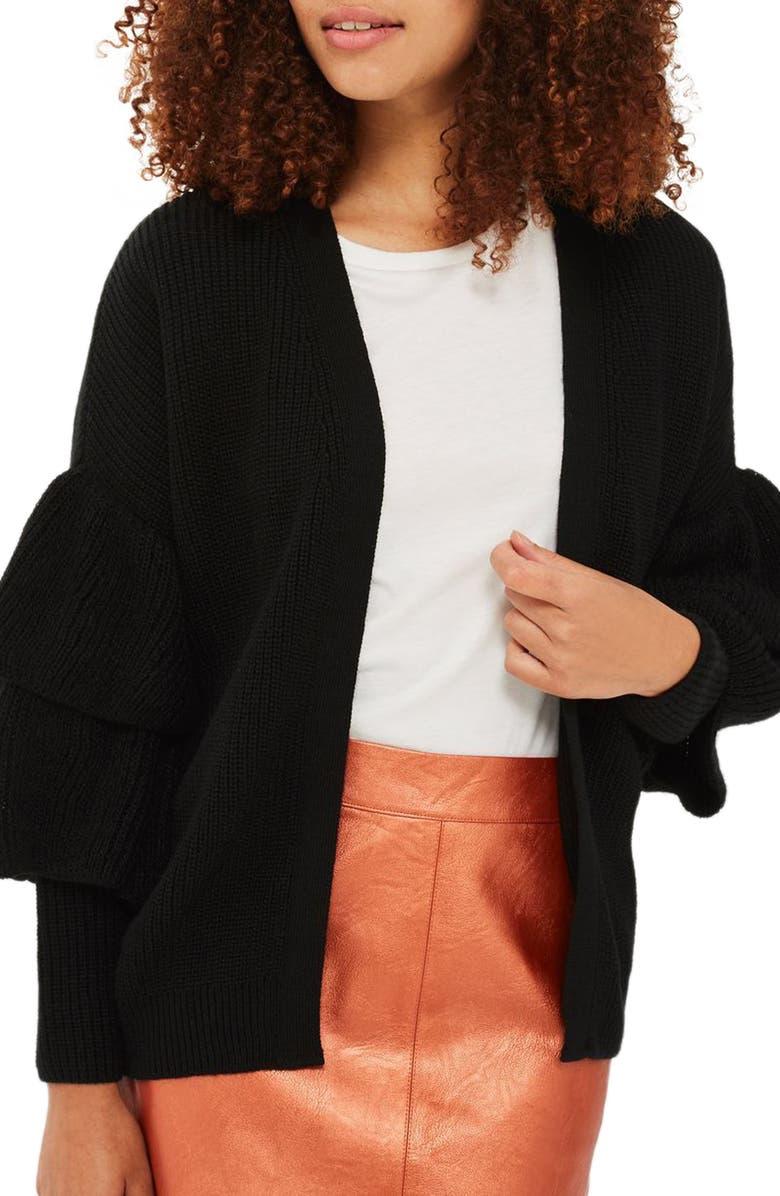 TOPSHOP Layered Ruffle Sleeve Cardigan, Main, color, 001