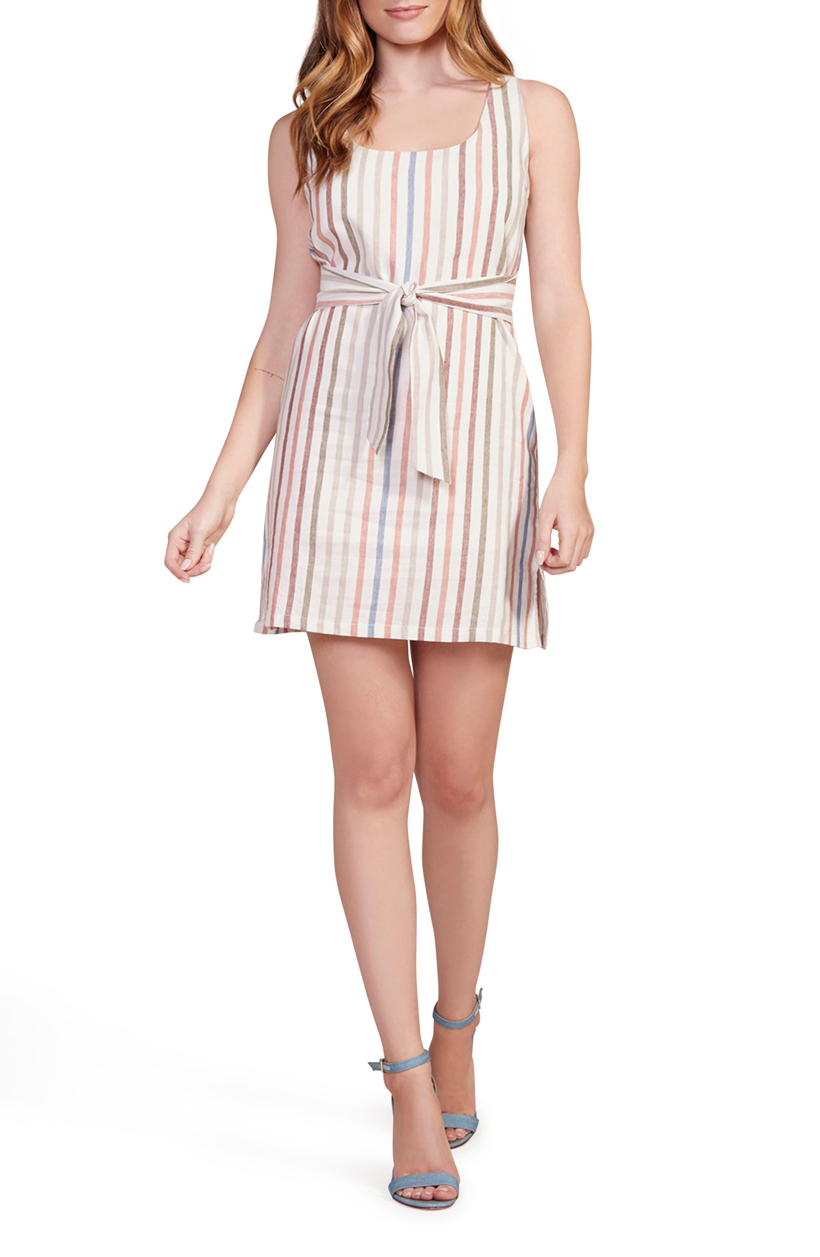 Image of BB Dakota Walk the Linen Stripe Belted Shift Dress