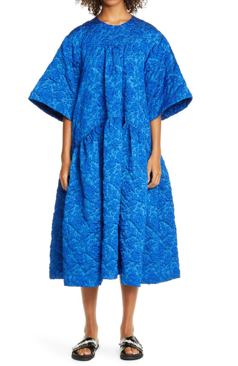 SIMONE ROCHA Cloqué Midi Dress, Main, color, BLUE