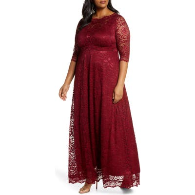 Plus Size Kiyonna Leona Lace Evening Gown, Burgundy