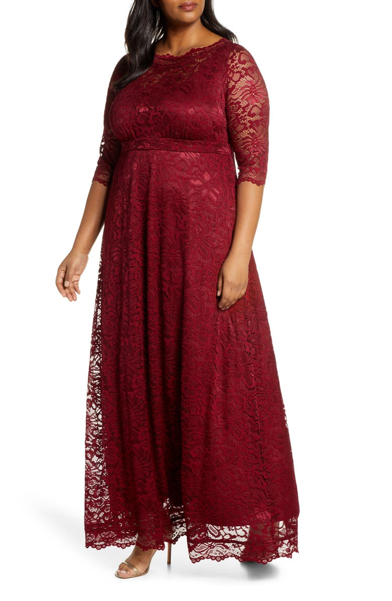 KIYONNA Leona Lace Evening Gown, Main, color, PINOT NOIR