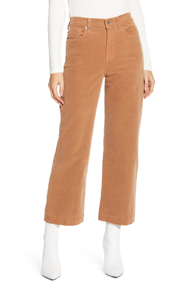 7 FOR ALL MANKIND<SUP>®</SUP> Alexa High Waist Crop Wide Leg Corduroy Pants, Main, color, PENNY