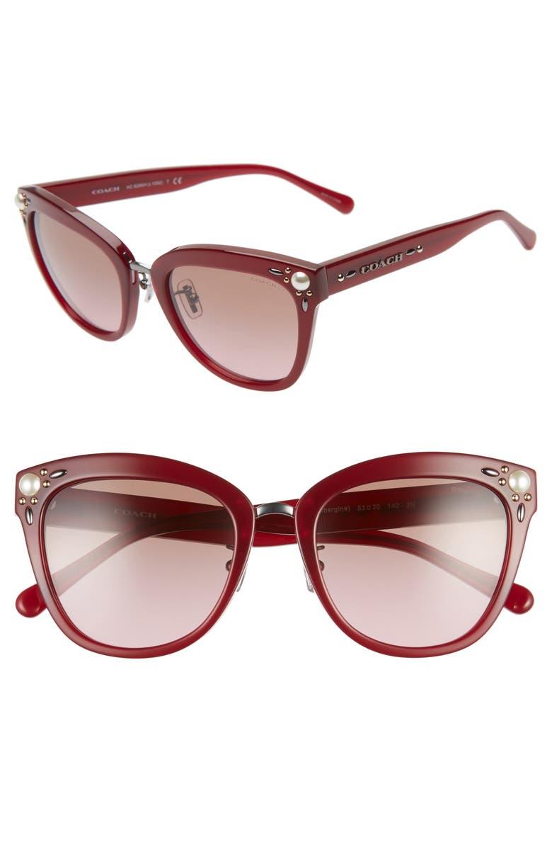 COACH 53mm Studded Cat Eye Sunglasses, Main, color, AUBERGINE/ GRADIENT