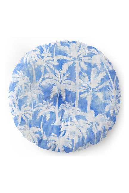 Image of Deny Designs Schatzi Brown Maui Palm Light Blue Round Floor Pillow