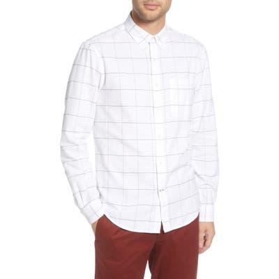 Club Monaco Slim Fit Windowpane Flannel Button-Down Shirt, White