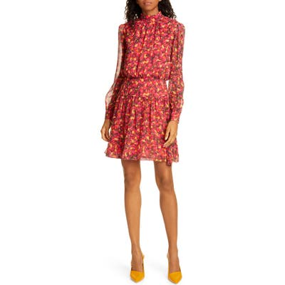 Saloni Isabel Floral Silk Long Sleeve Minidress, Red