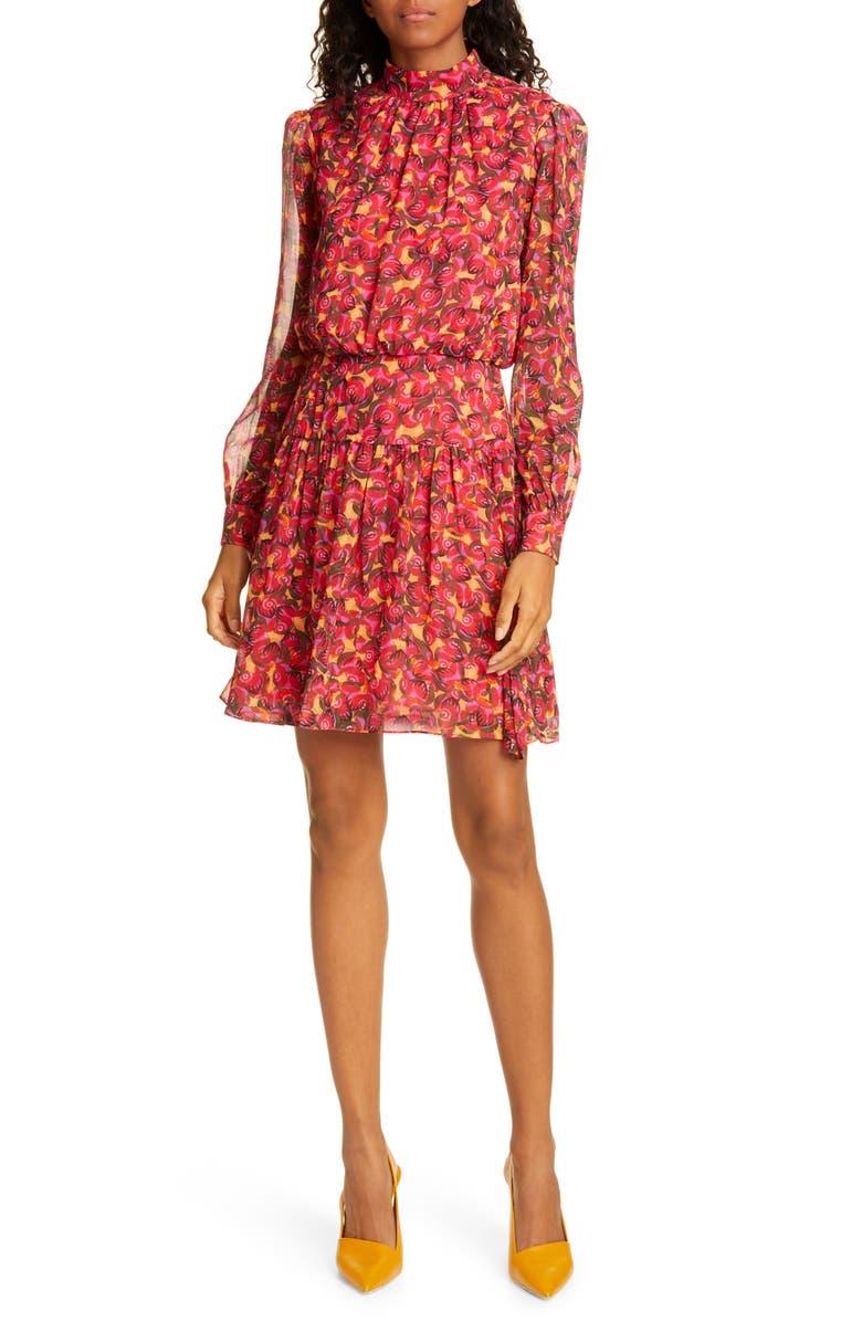 SALONI Isabel Floral Silk Long Sleeve Minidress, Main, color, PEMALA CIRCLES
