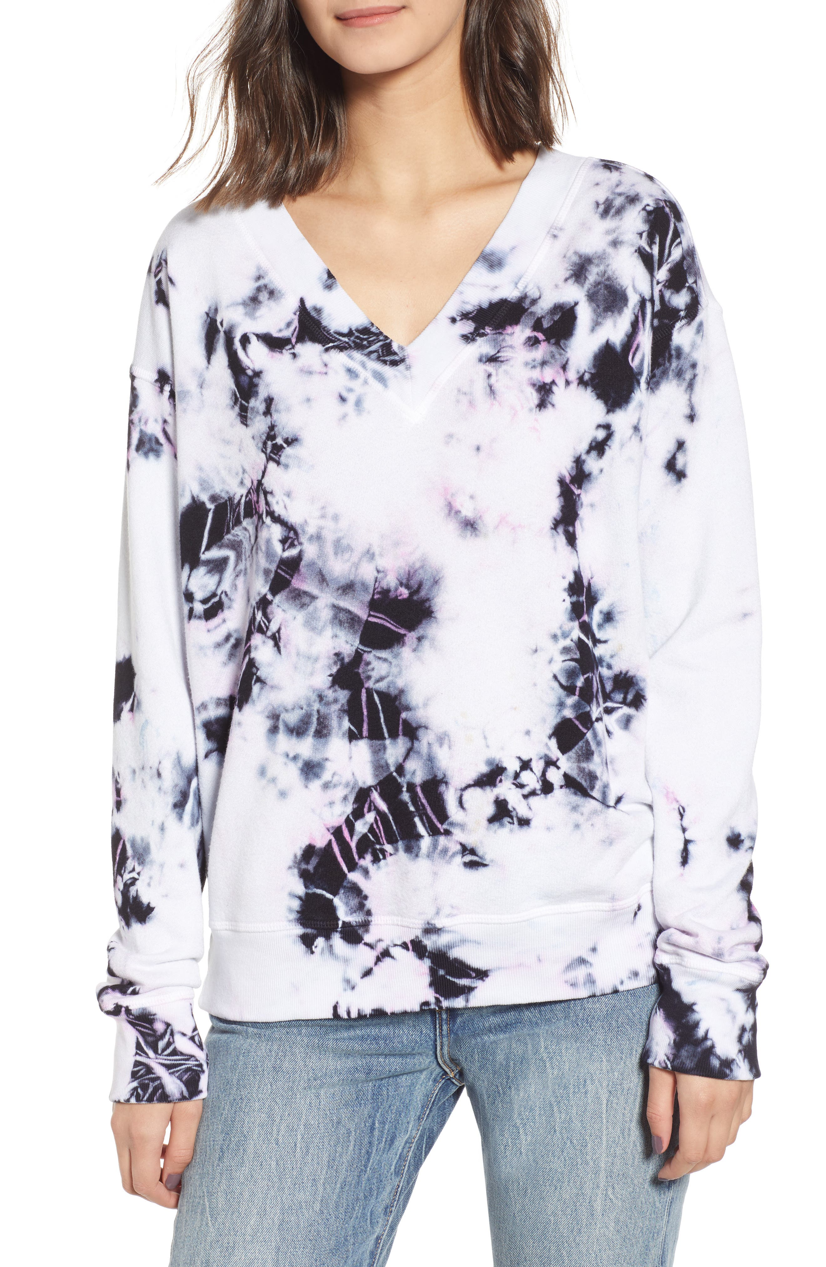 Sterling Tie Dye V-Neck Sweatshirt, Main, color, MOONLIGHT MULTI