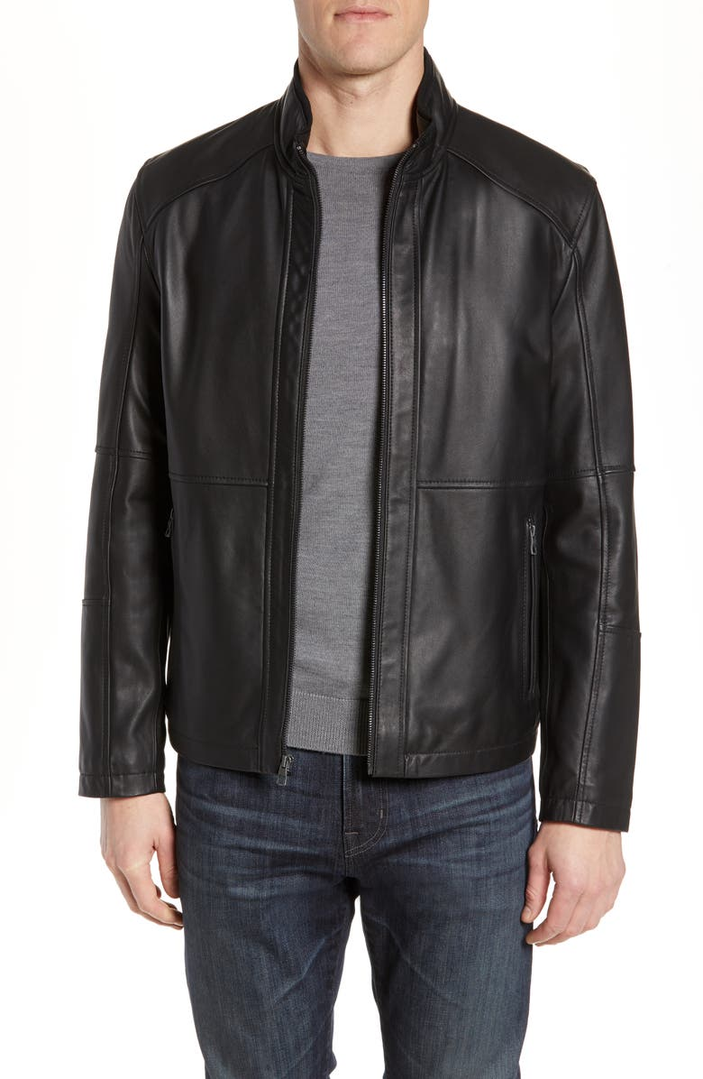 ANDREW MARC Wiley Lambskin Leather Jacket, Main, color, BLACK