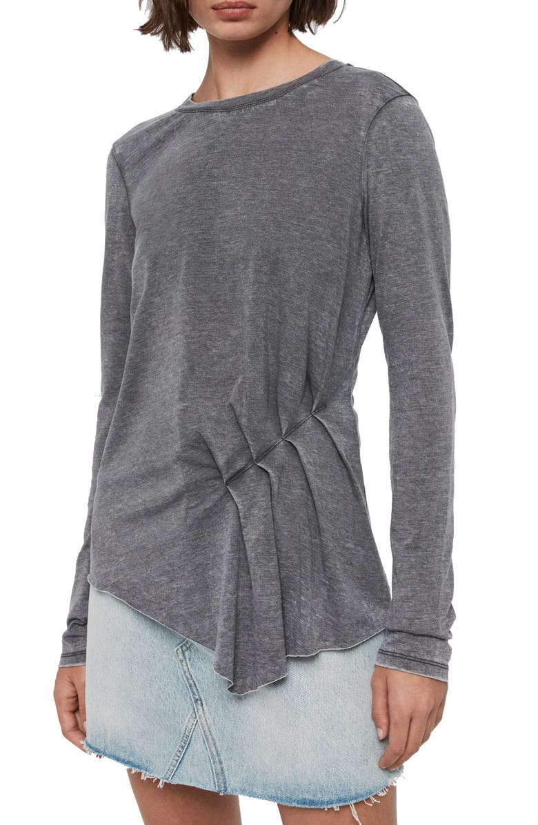 ALLSAINTS Duma Asymmetrical Long Sleeve Tee, Main, color, COAL GREY