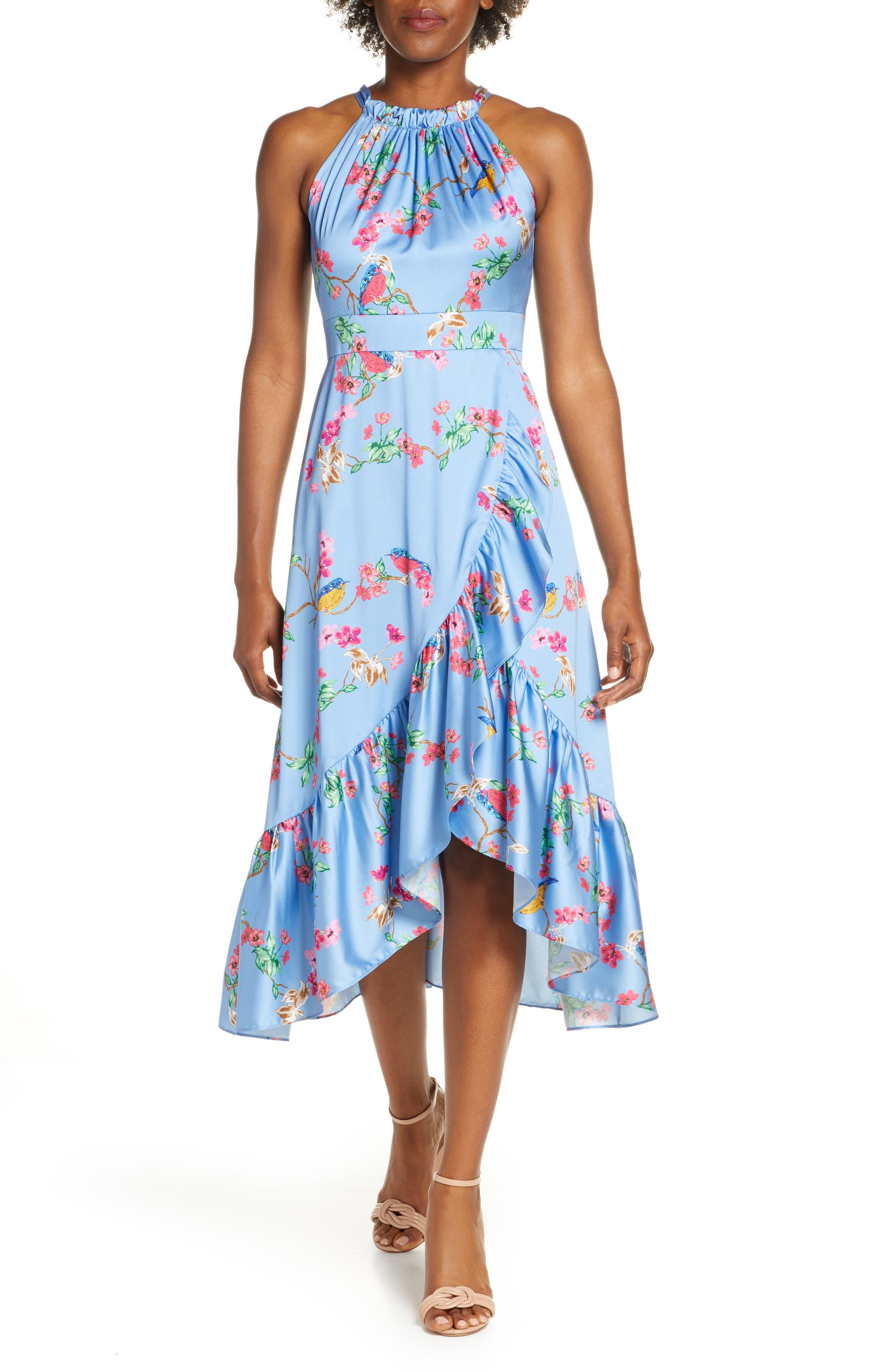 Eliza J   Flounce Hem Halter Dress