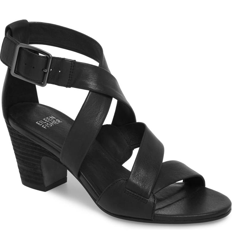 EILEEN FISHER Patsy Sandal, Main, color, BLACK LEATHER