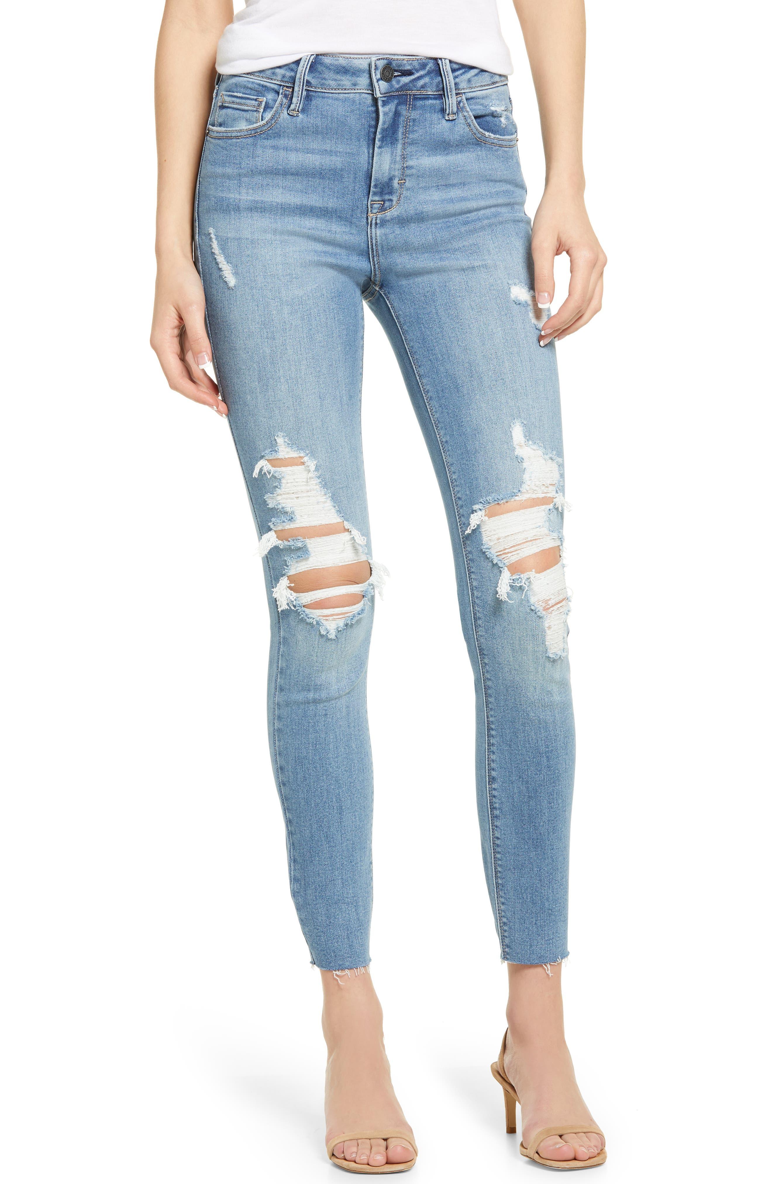 Distressed High Waist Raw Hem Ankle Skinny Jeans