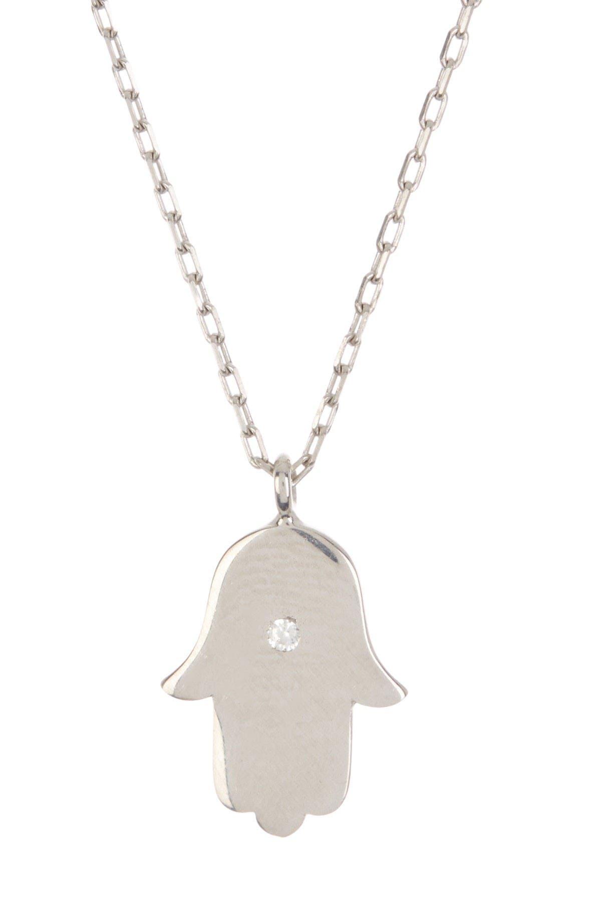 Image of Argento Vivo CZ Hamsa Pendant Necklace