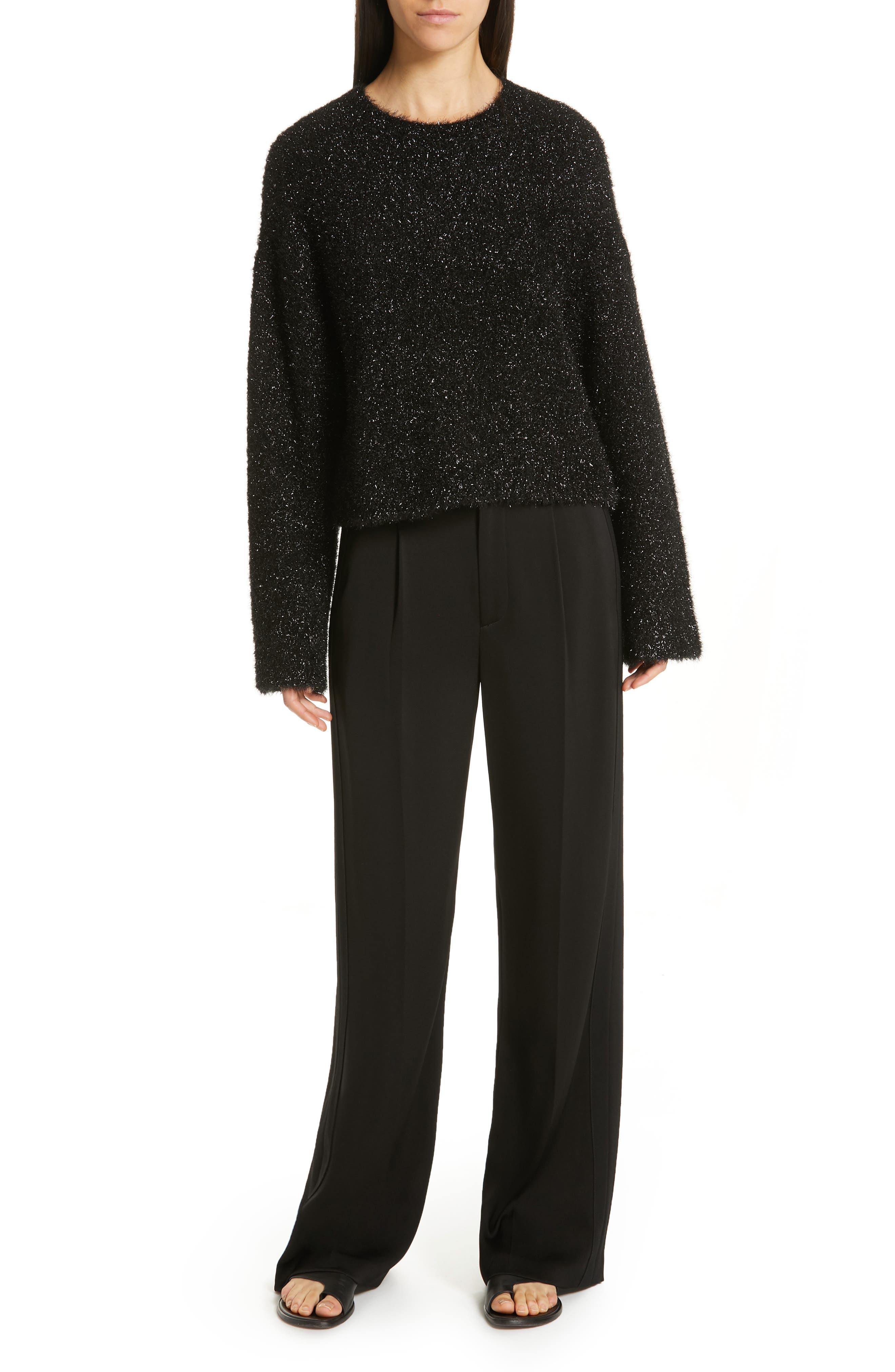 ,                             Boxy Metallic Knit Sweater,                             Alternate thumbnail 7, color,                             001