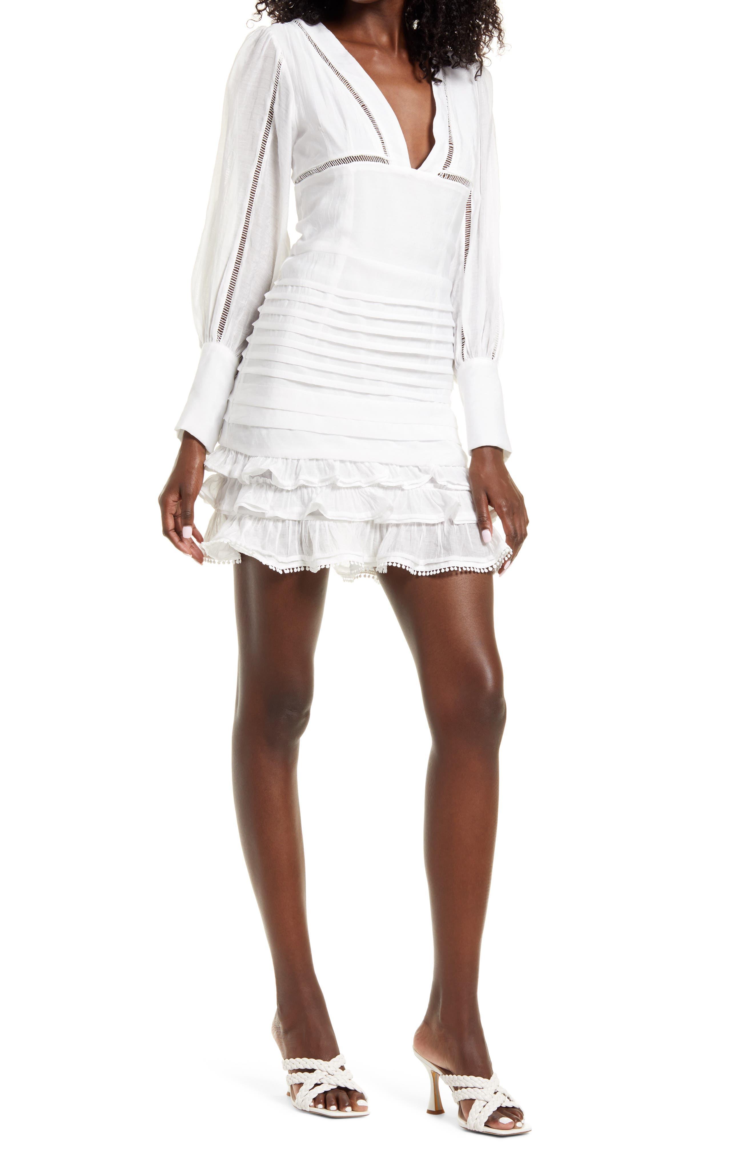 Plunge Neck Long Sleeve Minidress