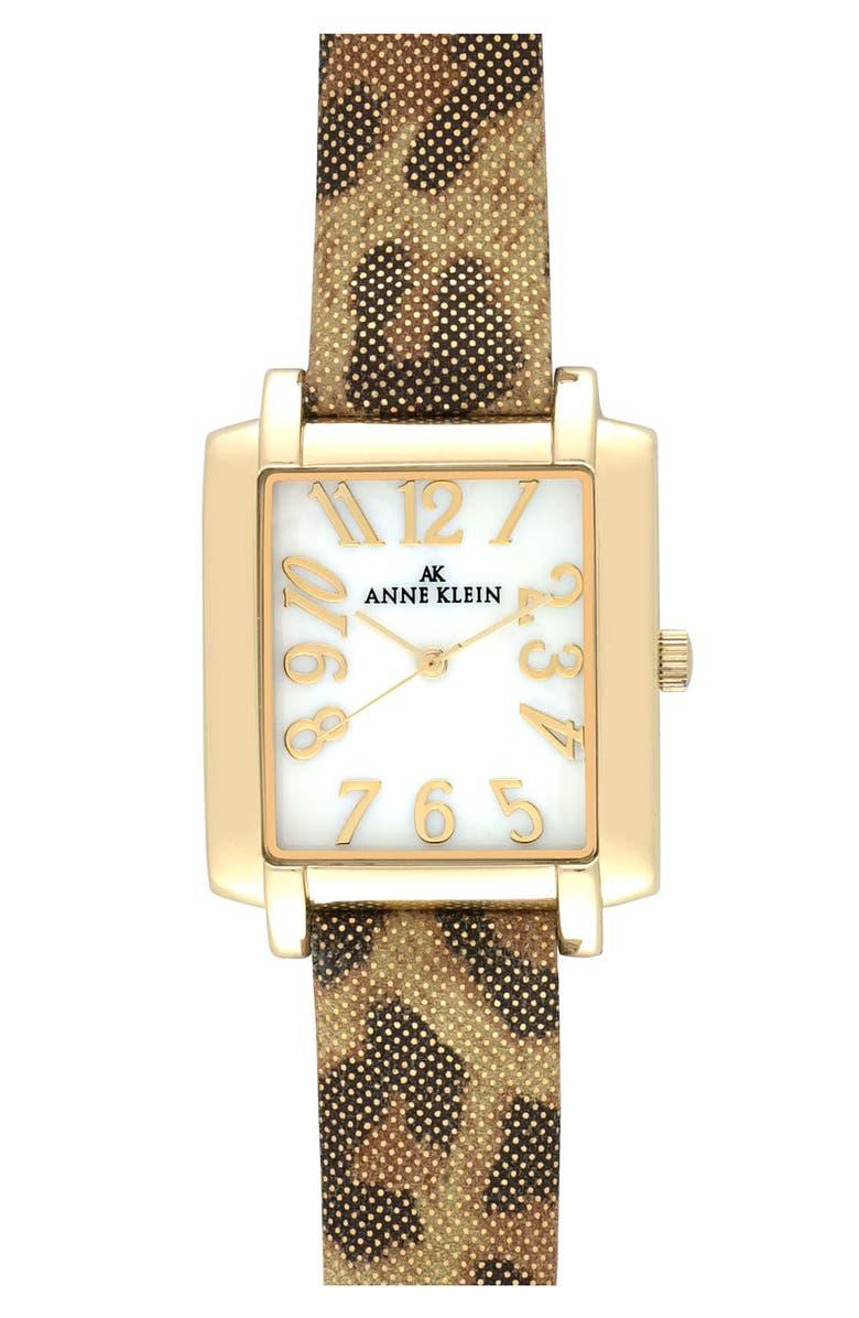 ANNE KLEIN Leopard Print Strap Rectangular Watch, Main, color, 710