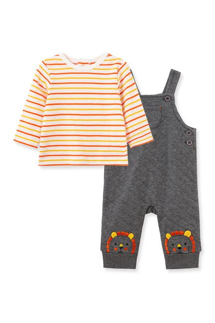 Image of Little Me Lion Stripe Print Top & Overalls
