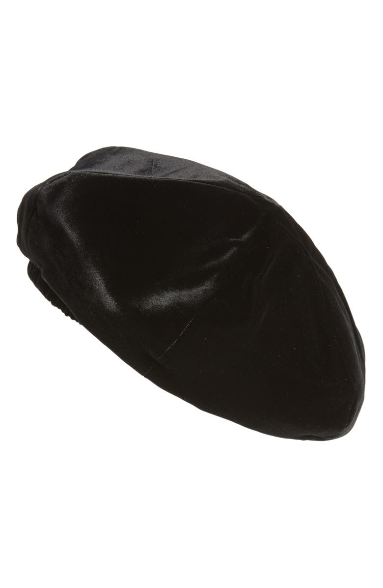 SAINT LAURENT Velvet Beret, Main, color, NOIR