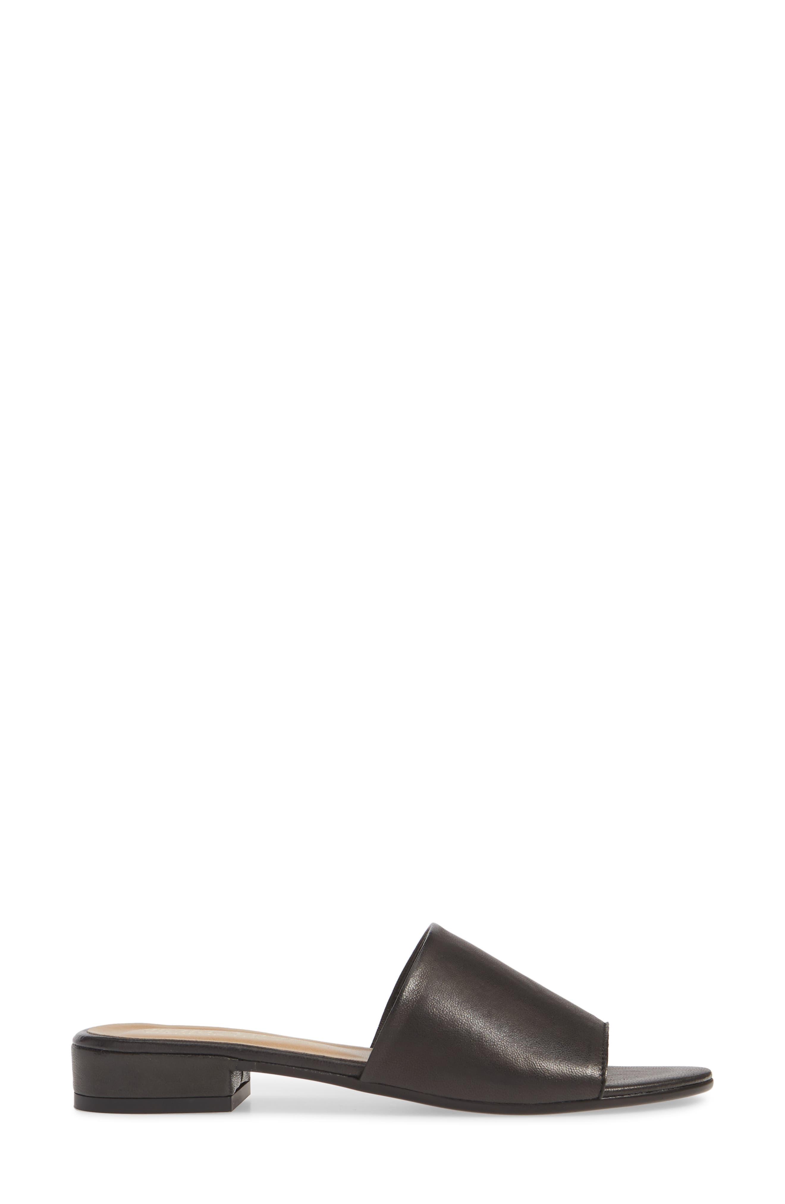 ,                             Slide Sandal,                             Alternate thumbnail 3, color,                             BLACK ITALIAN LEATHER