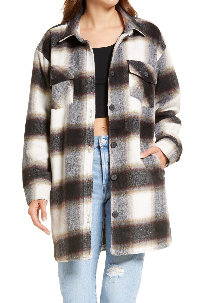 THREAD & SUPPLY Long Shirt Jacket, Main, color, BLACK MULTI PLAID