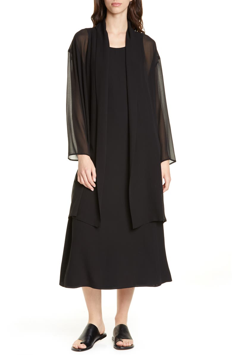 EILEEN FISHER Long Open Front Tencel<sup>®</sup> Lyocell Jacket, Main, color, 001