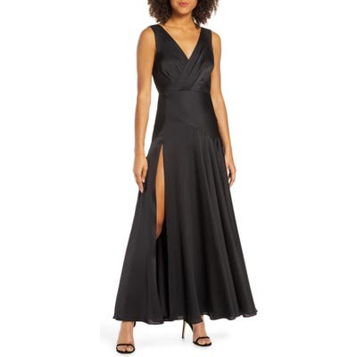 Fame And Partners Pleat Chiffon Gown, Black