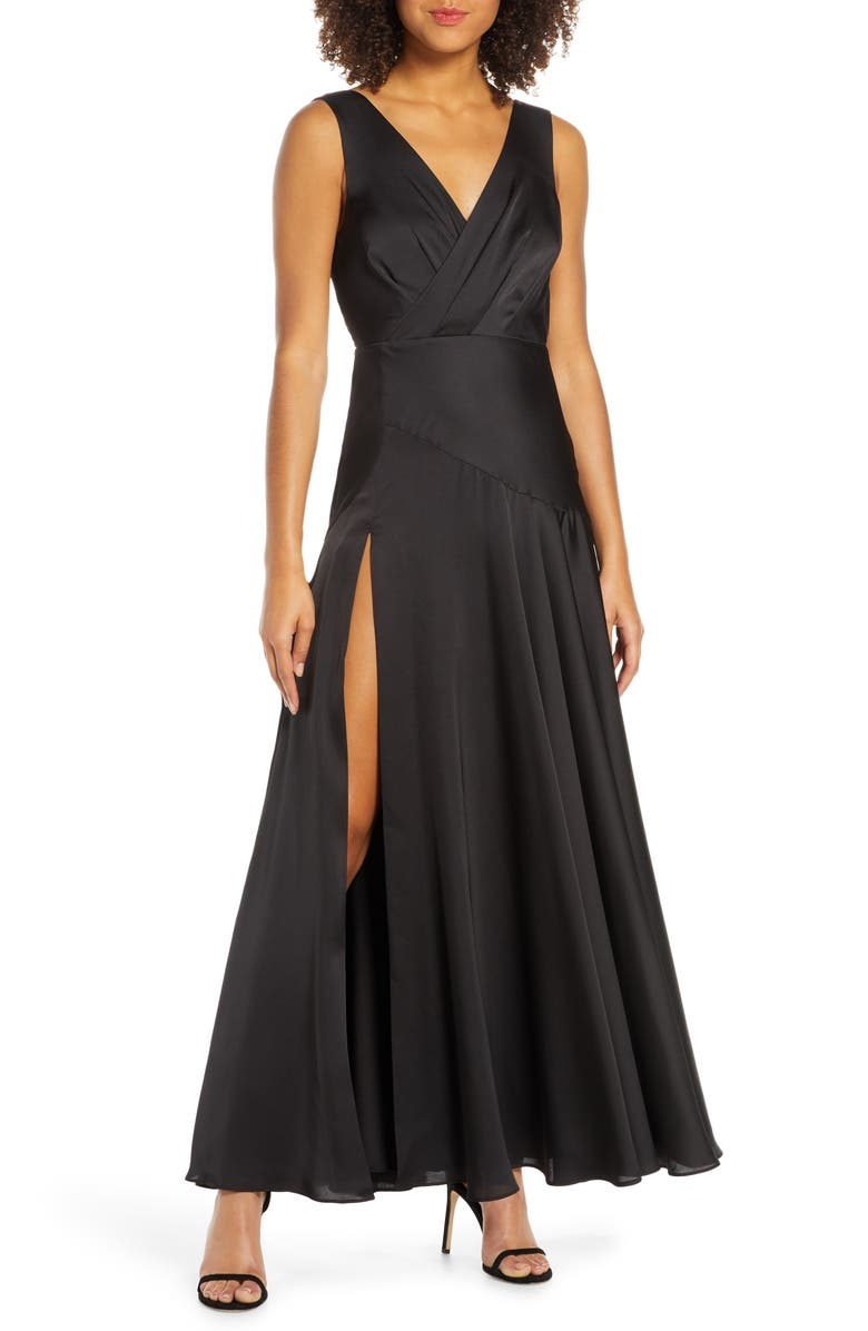 FAME AND PARTNERS Pleat Chiffon Gown, Main, color, 001