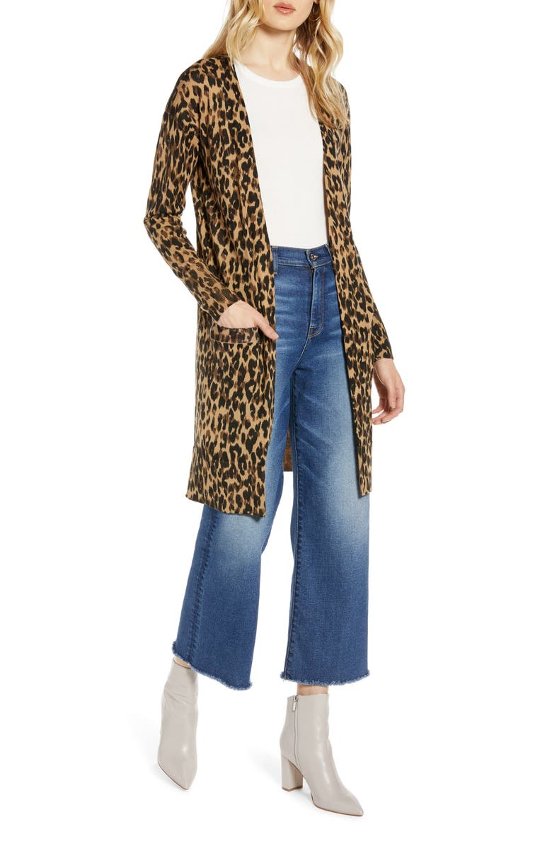 Leopard Print Long Cardigan, Main, color, TAUPE ANIMAL PRINT