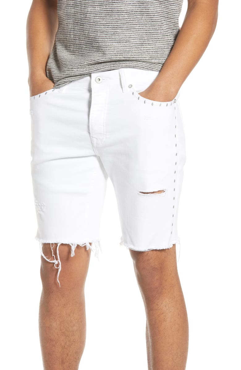TOPMAN Ripped Studded Skinny Shorts, Main, color, 100