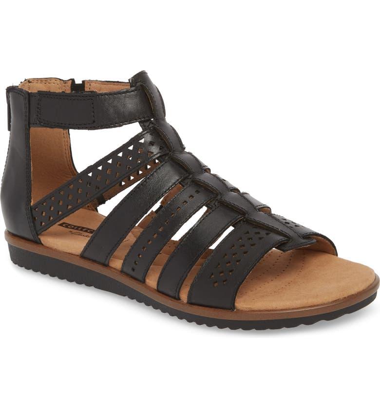 CLARKS<SUP>®</SUP> Kele Lotus Sandal, Main, color, BLACK LEATHER