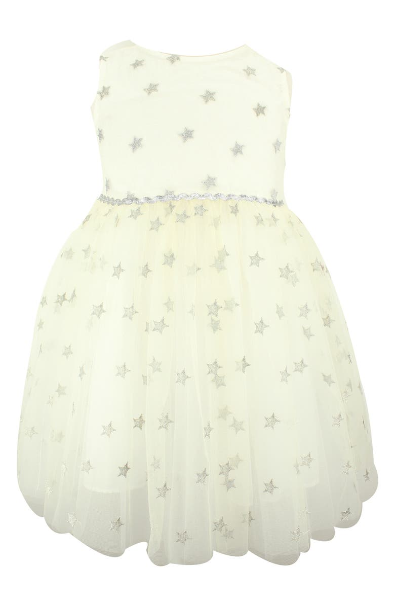POPATU Metallic Star Tulle Dress, Main, color, SILVER/ WHITE