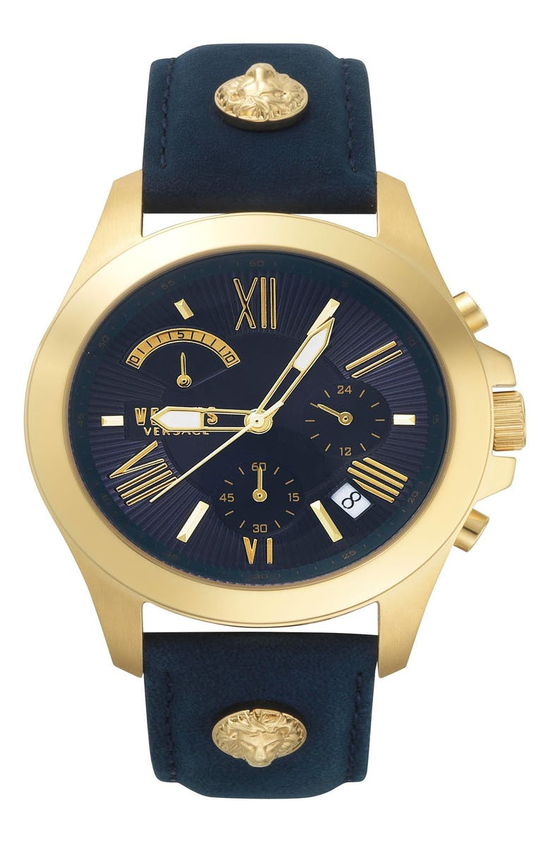 VERSUS VERSACE VERSUS by Versace Lion Chronograph Leather Strap Watch, 44mm, Main, color, BLUE/ GOLD