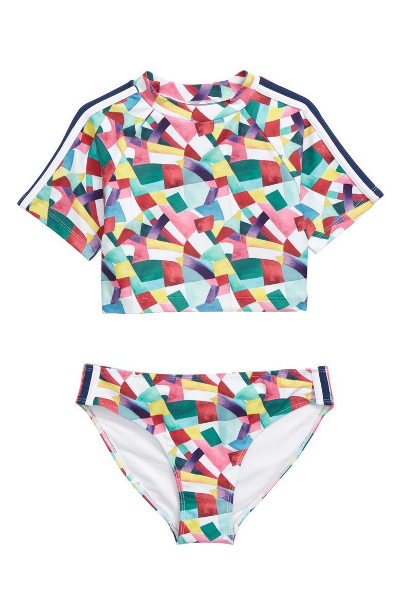 ZELLA GIRL Colorblock Crop Two-Piece Rashguard Swimsuit, Main, color, WHITE MULTI FUNKY GEO