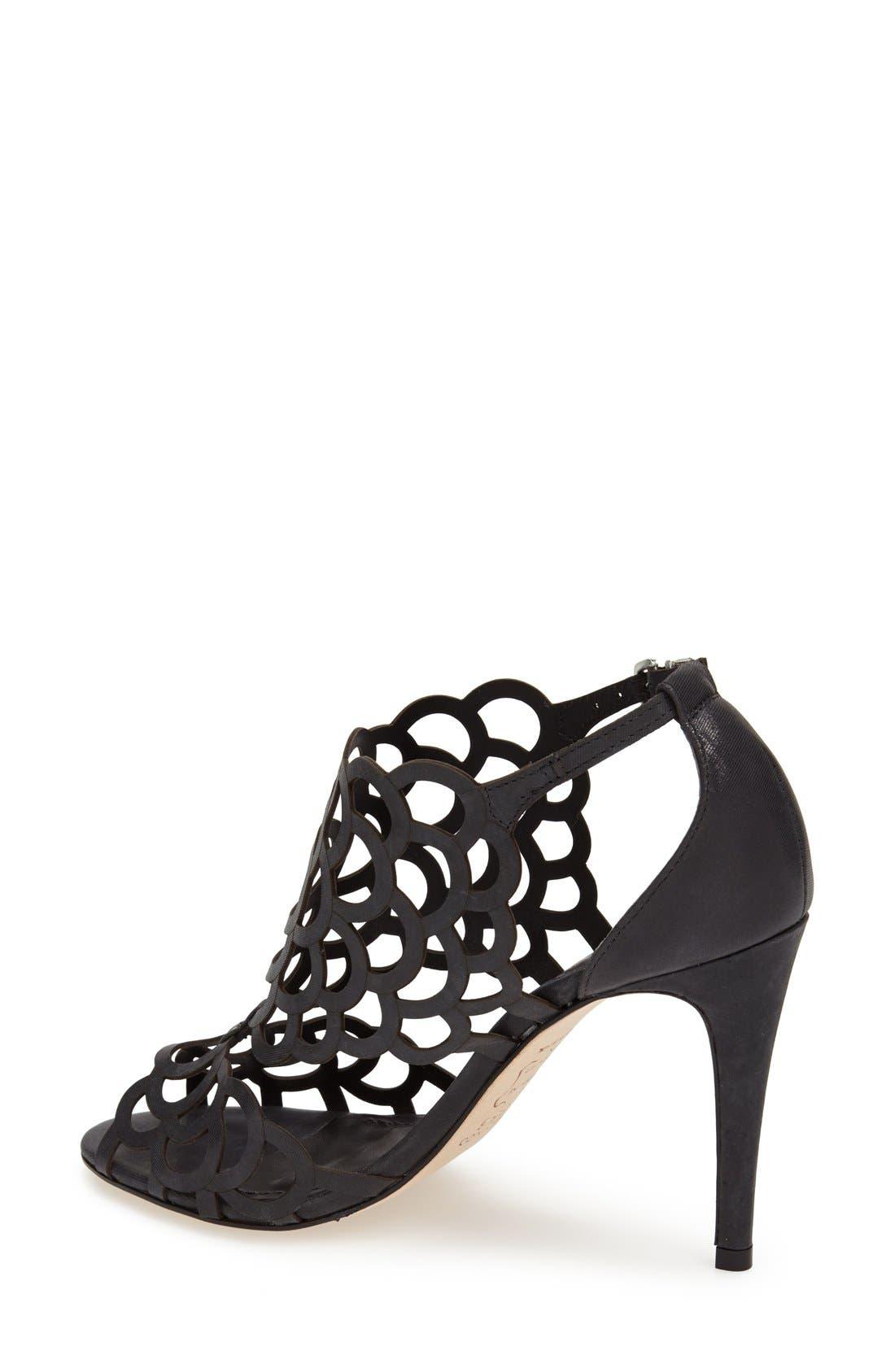 ,                             'Millie' Cutout Sandal,                             Alternate thumbnail 6, color,                             BLACK