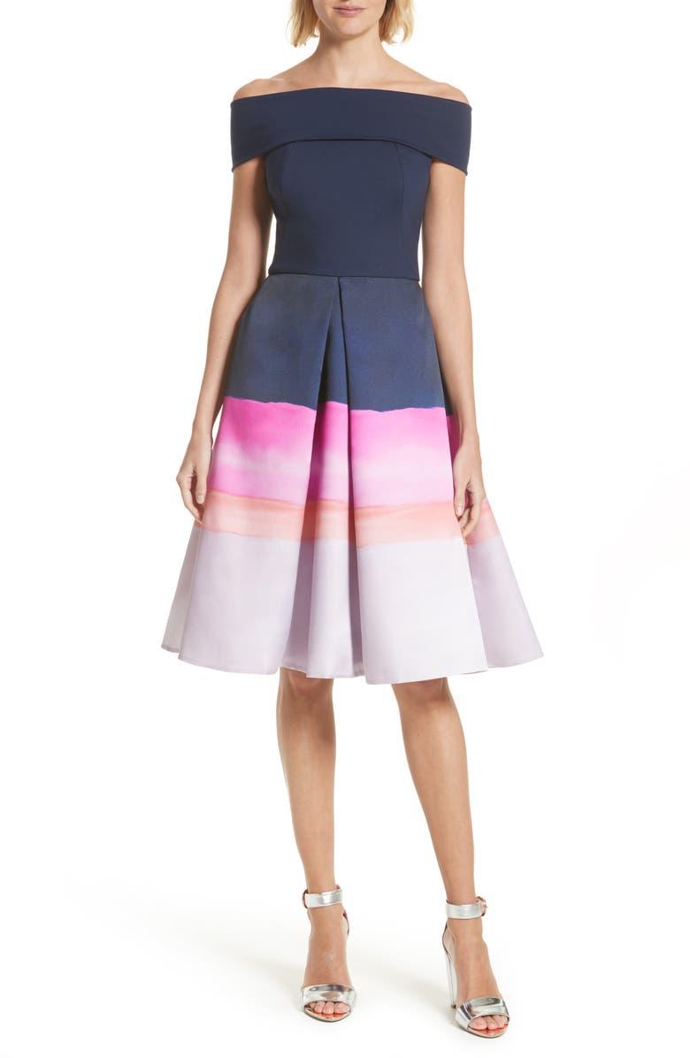 TED BAKER LONDON Holli Off the Shoulder Dress, Main, color, 410