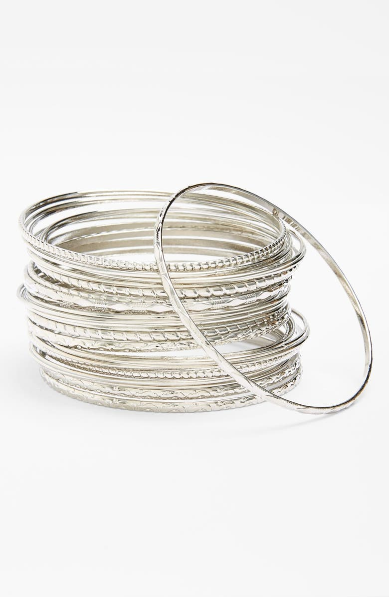 STEPHAN & CO. Textured Bangles, Main, color, Silver