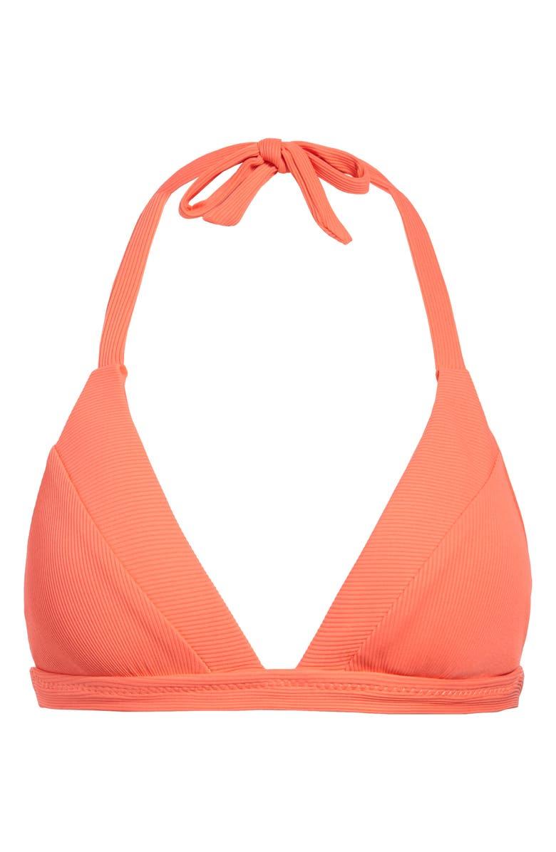 BECCA Fine Line Bikini Top, Main, color, LIVING CORAL
