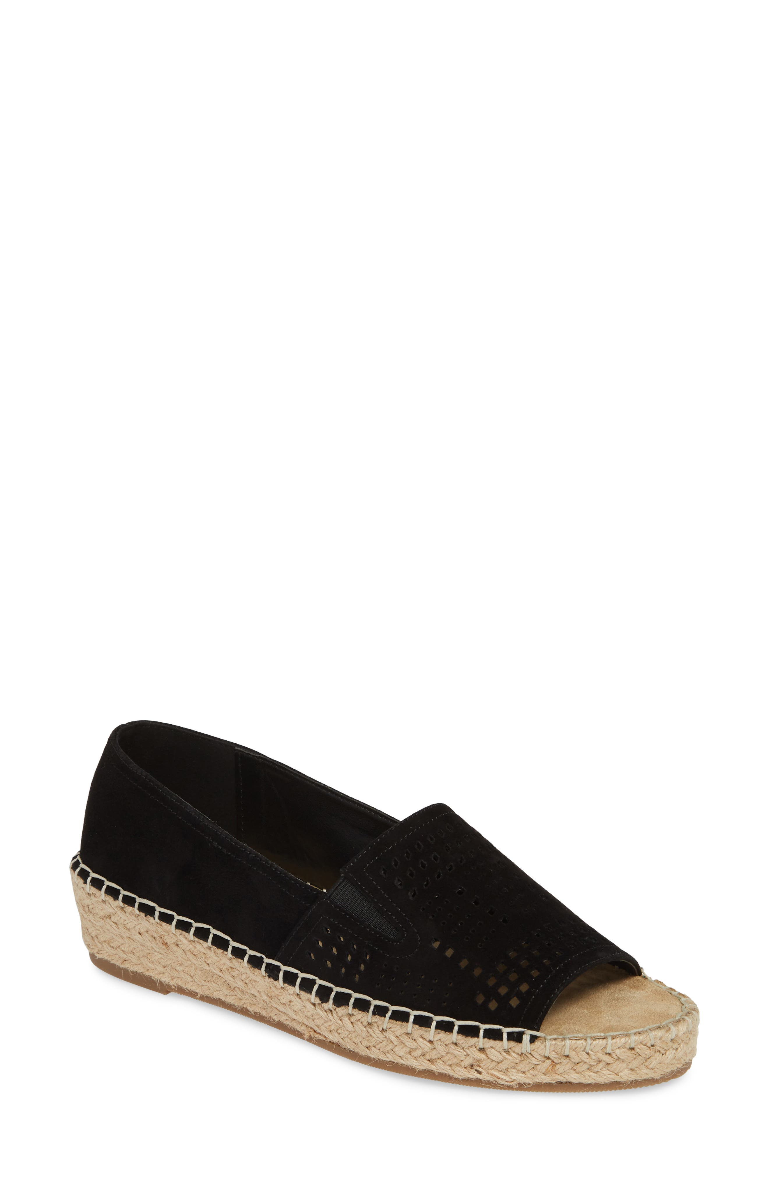 ,                             Cora Open Toe Slip-On,                             Main thumbnail 1, color,                             BLACK SUEDE