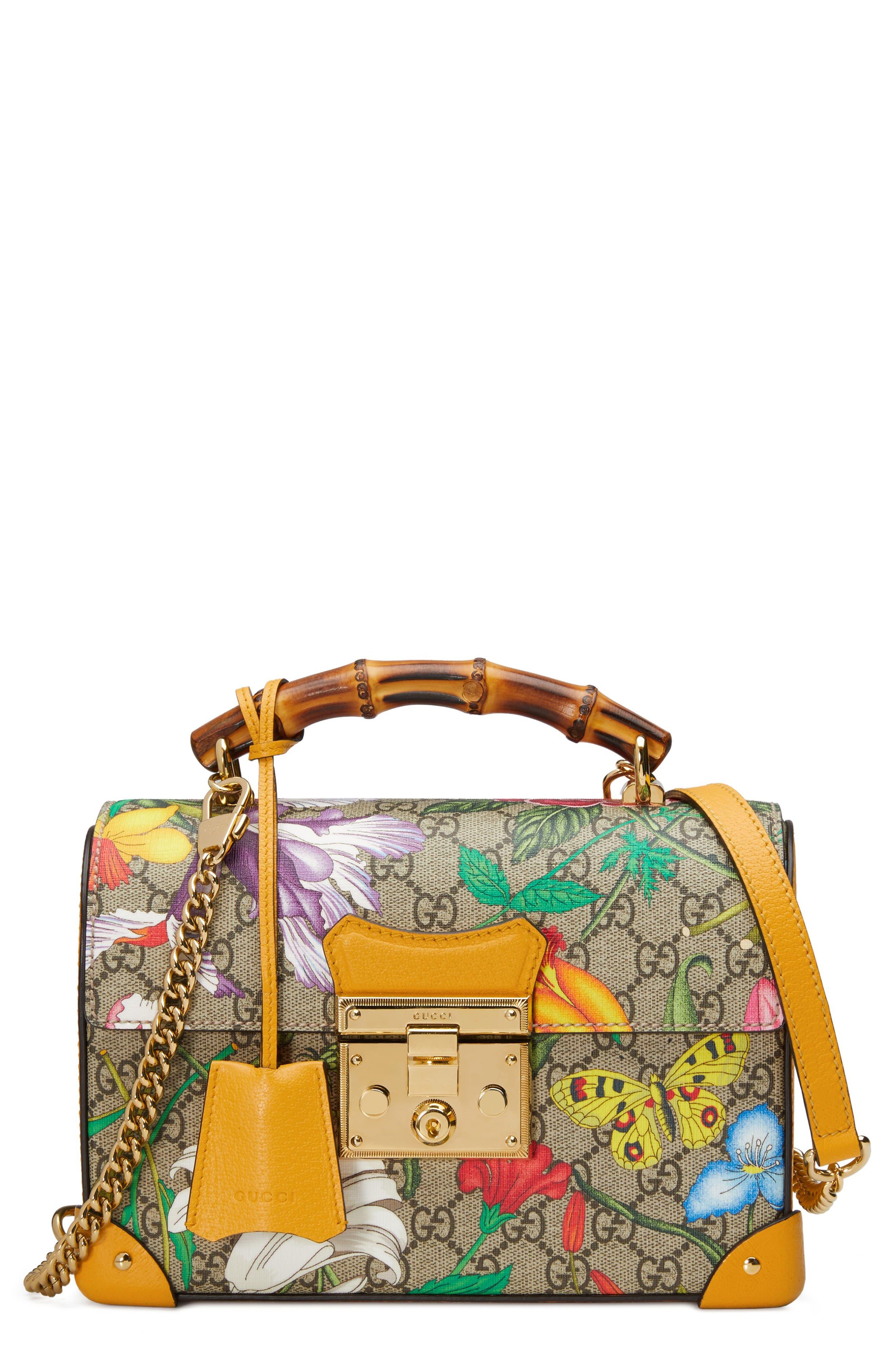 Gucci Shoulder Padlock Floral Bamboo Handle Canvas & Leather Shoulder Bag