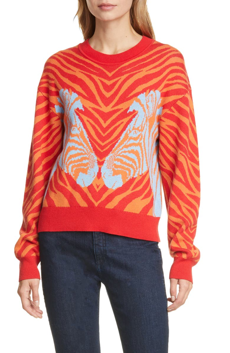 RAG & BONE Plaza Zebra Jacquard Sweater, Main, color, RED