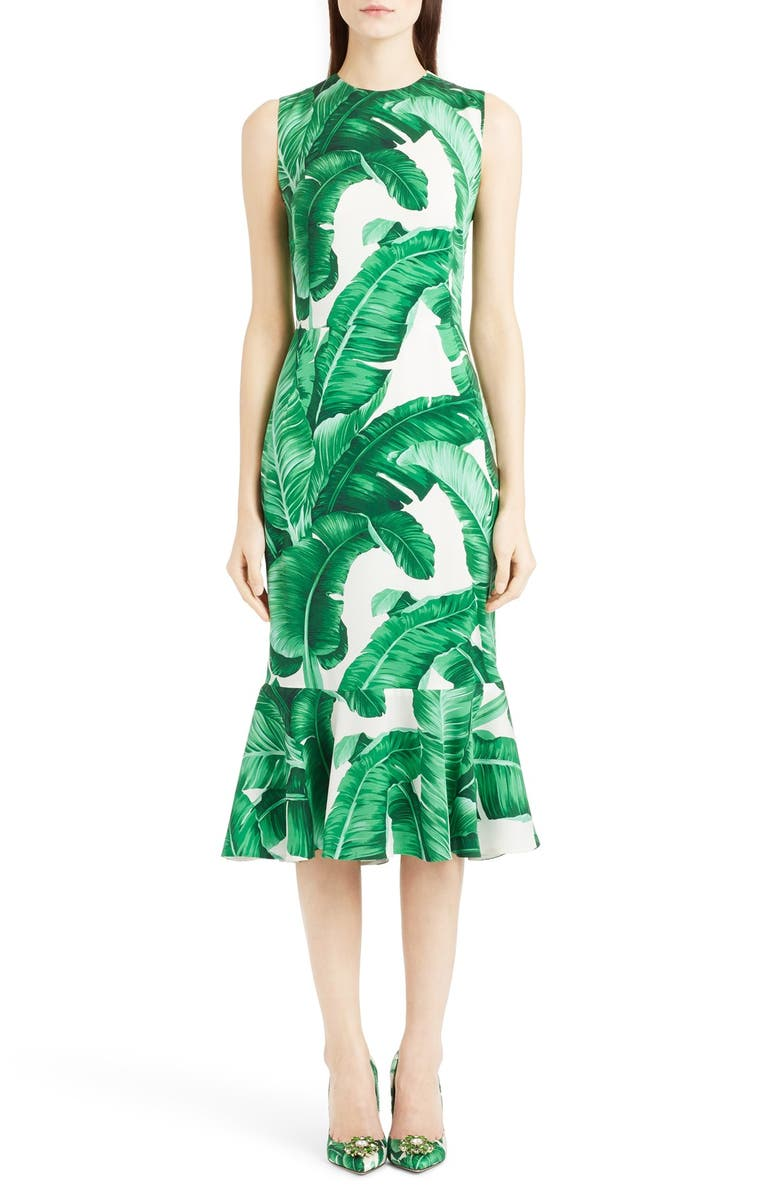 DOLCE&GABBANA Flutter Hem Banana Leaf Print Charmeuse Dress, Main, color, 100