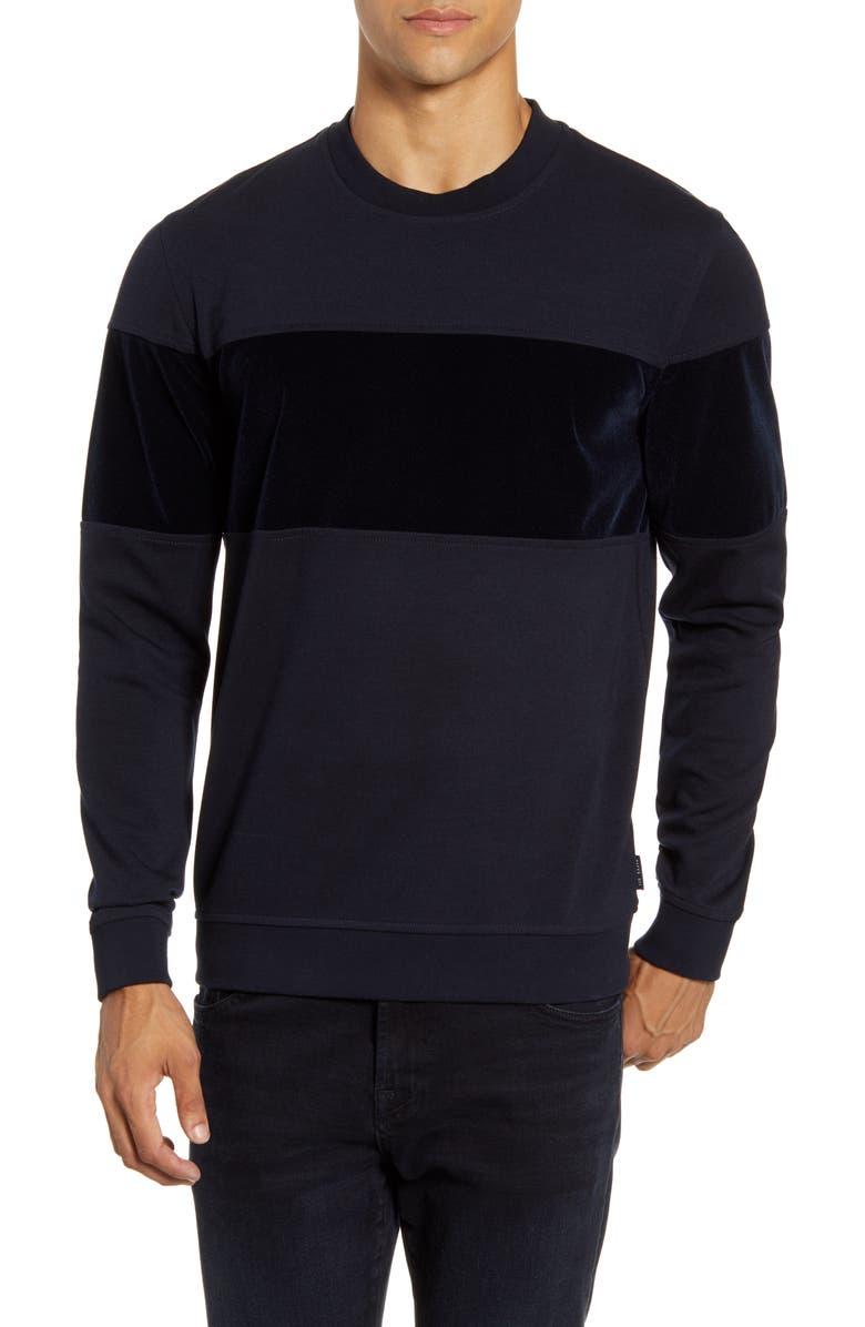 TED BAKER LONDON Wander Velvet Panel Sweatshirt, Main, color, NAVY