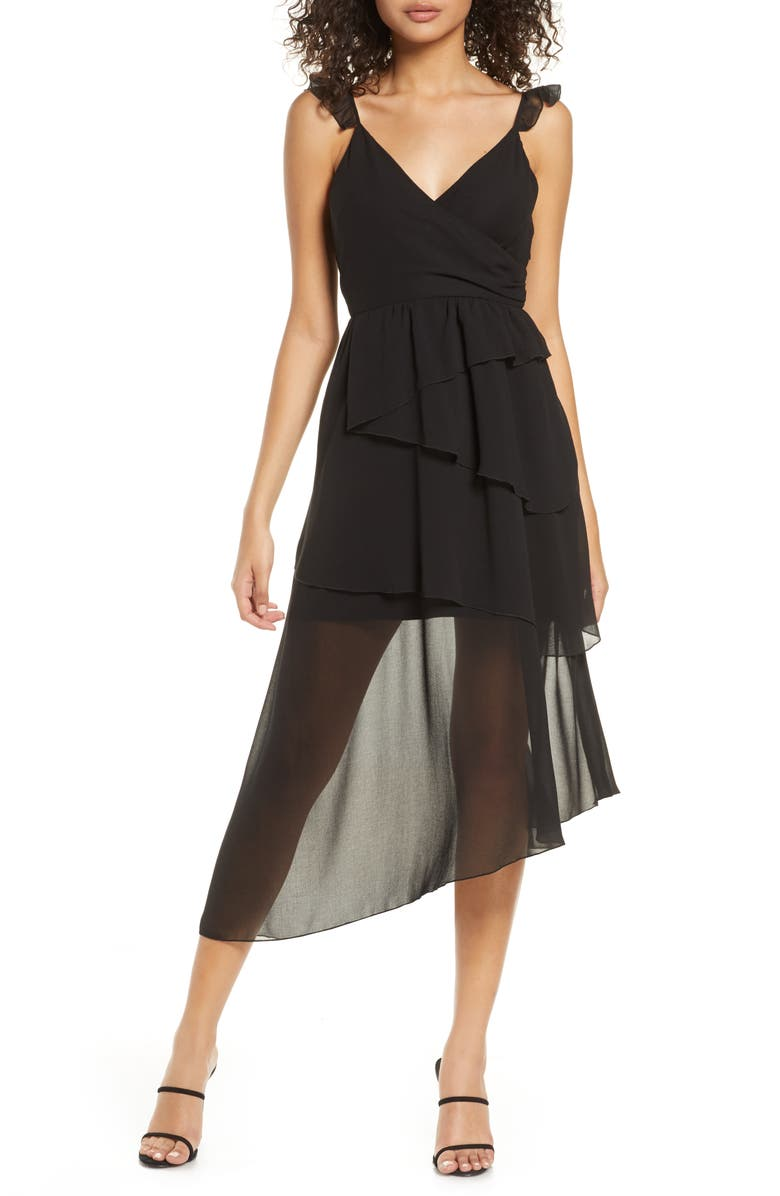 BELLEVUE THE LABEL Alice Sheer Detail Asymmetrical Hem Dress, Main, color, BLACK