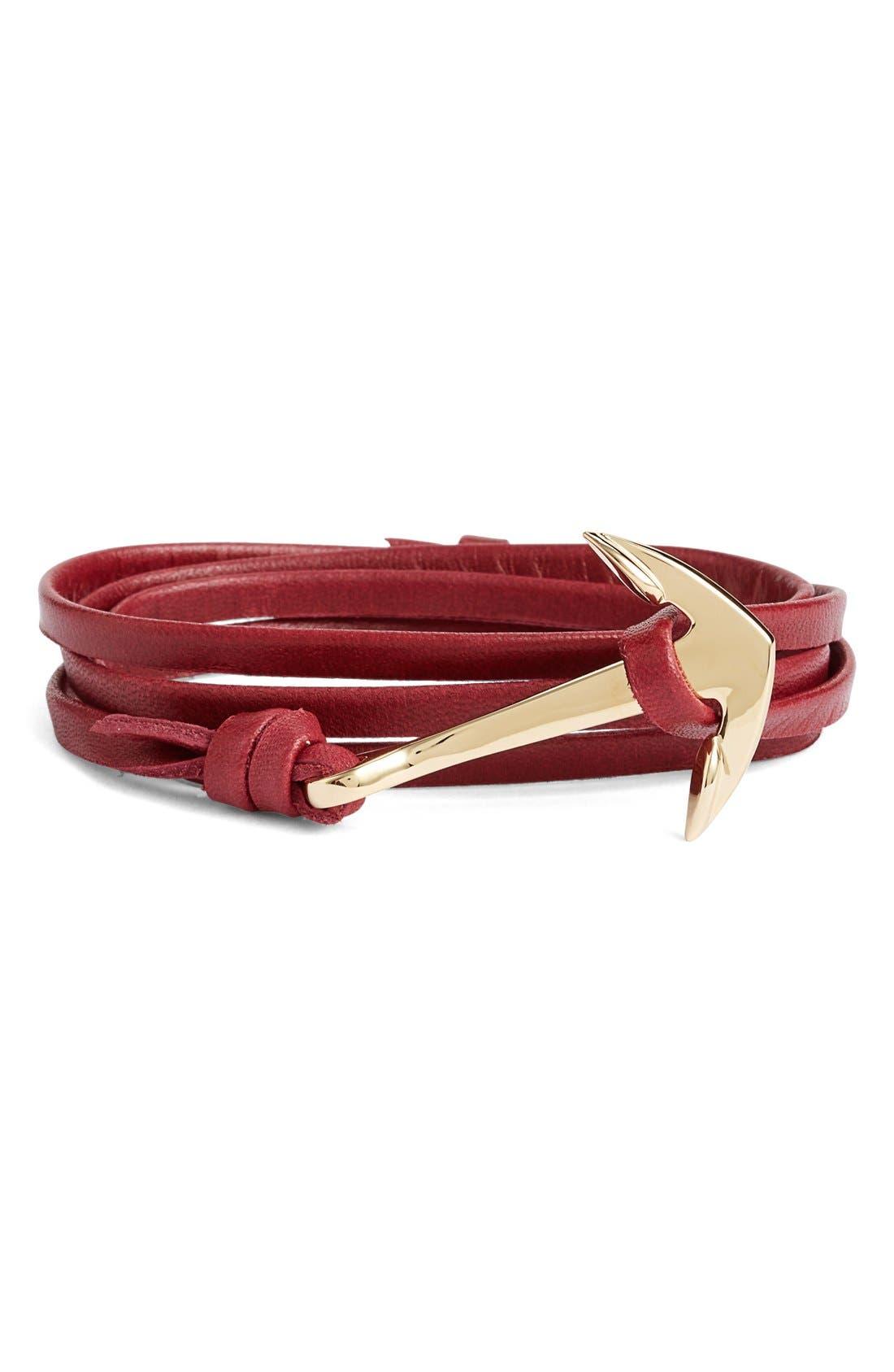 ,                             Gold Anchor Leather Bracelet,                             Main thumbnail 13, color,                             930