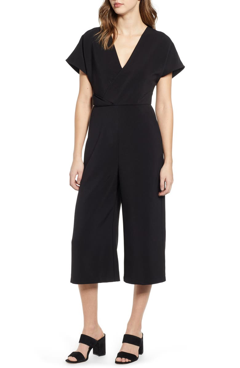 LEITH Surplice Wide Leg Crop Jumpsuit, Main, color, 001